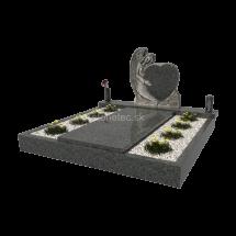 Dvojhrob s pomníkom v tvare anjela Raja Black