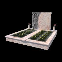 Dvojhrob zo žuly Shiwakashi s pomníkom v tvare anjela