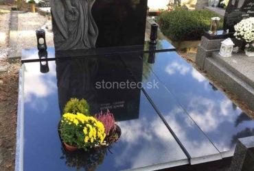 Luxusný dvojhrob zo žuly Absolute Black s pomníkom v tvare anjela