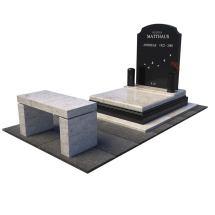 Urnový hrob z bledého a čierneho granitu