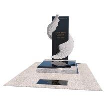 Urnový hrob s ručne tvarovaným pomníkom v krídla anjela